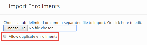 image of import enrollments pop-up box with highlight around allow duplicate enrollments