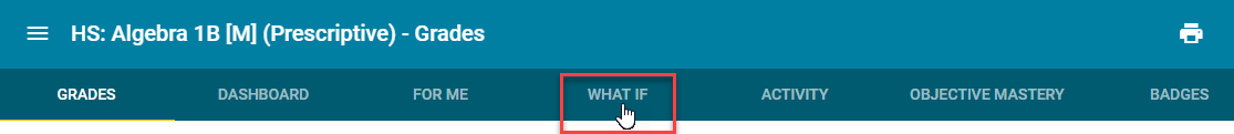 Image of header toolbar pointing to the What If tab.