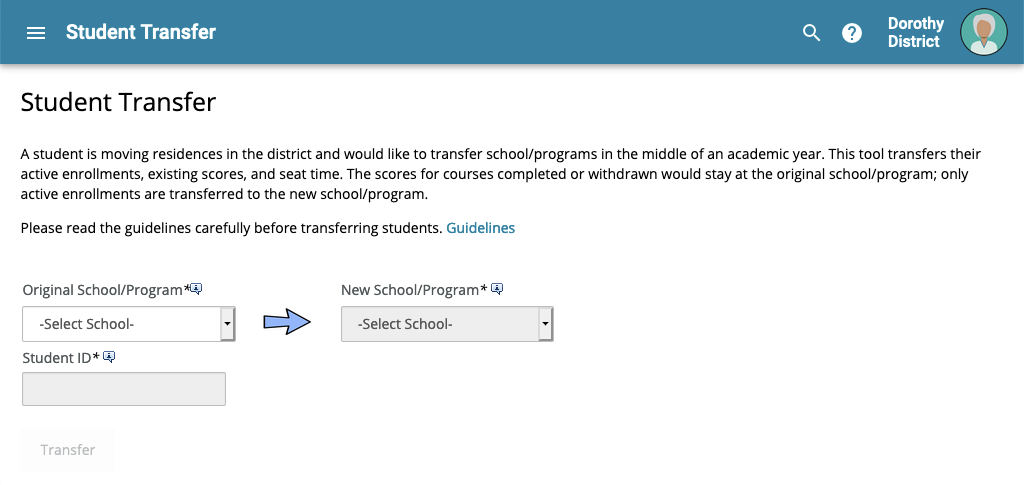 image of student transfer screen