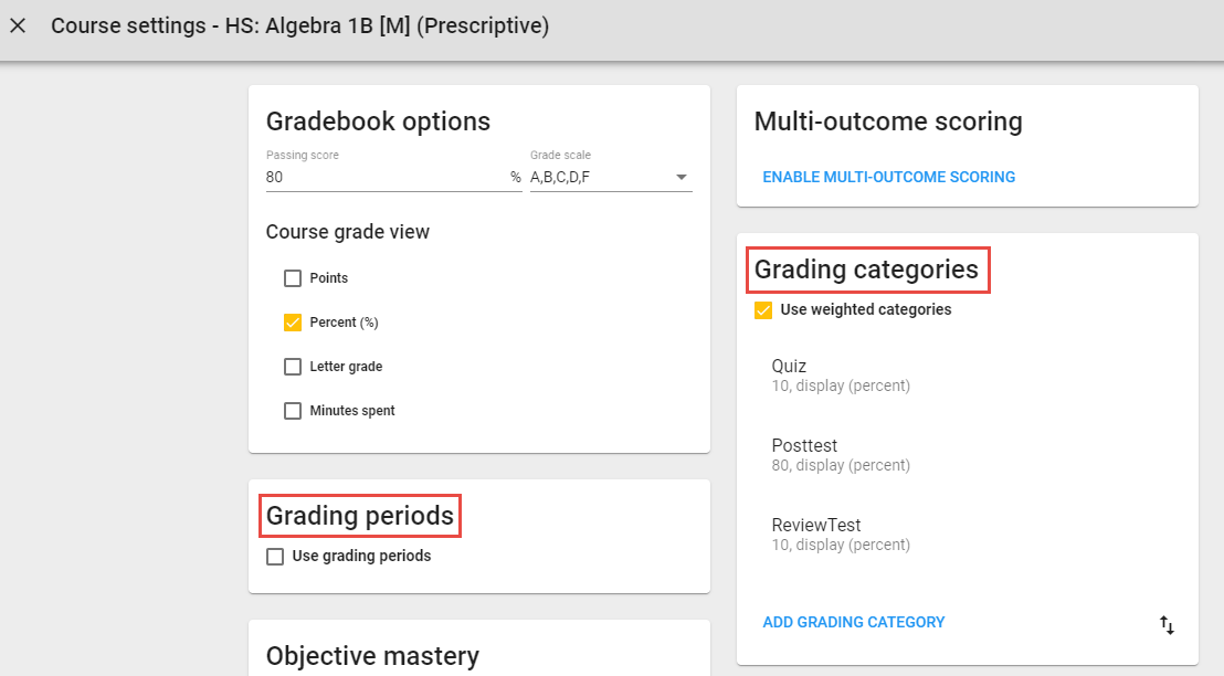 Course settings with the Grading Period and Grading Categories cards highlighted.