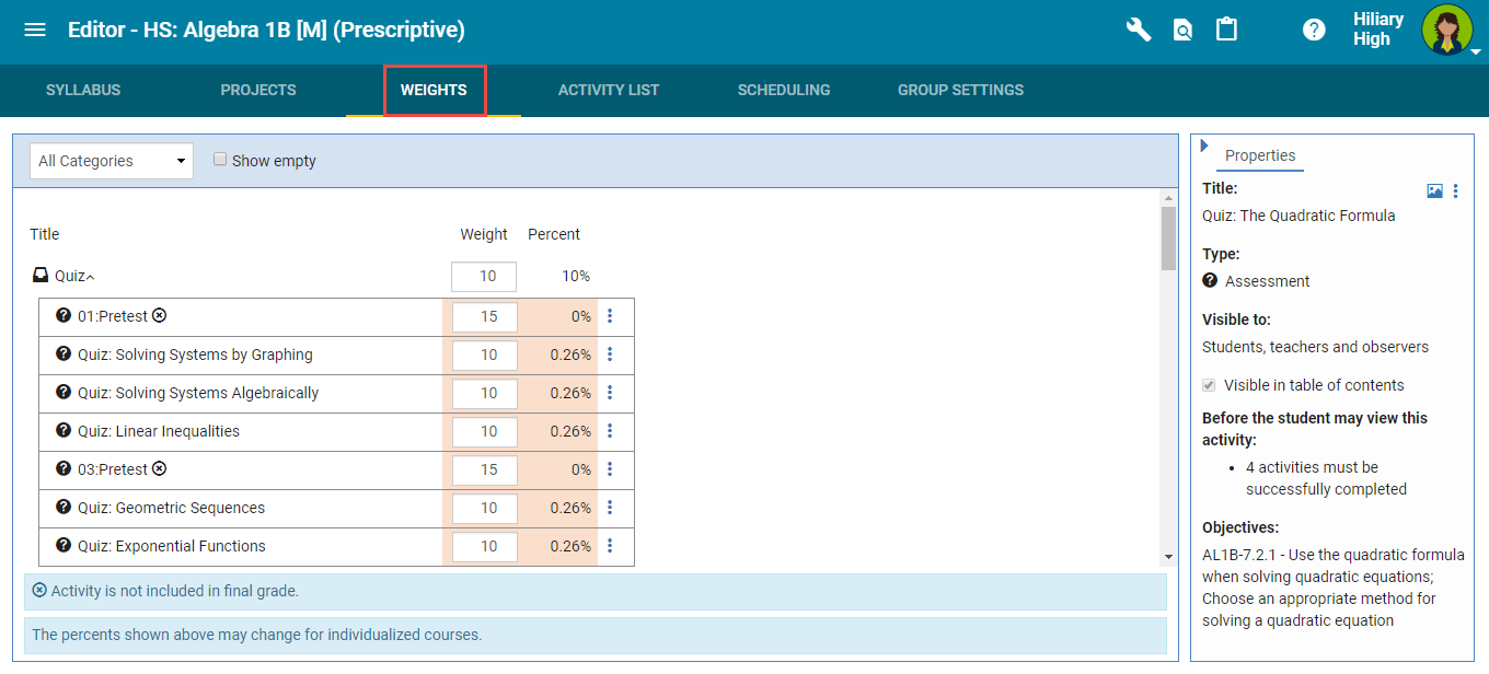 Grading Weights tab in the Course Editor.